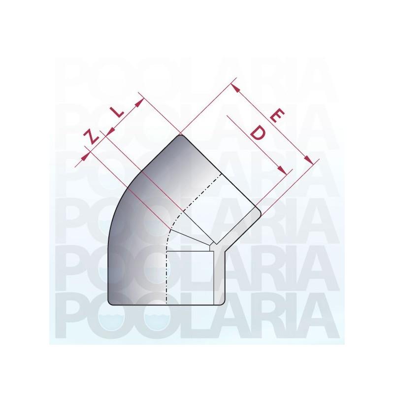 Codo 45 pvc encolar poolaria - Medidas tubos pvc ...