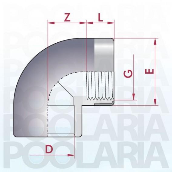 Codo mixto reforzado 90º PVC encolar y roscar