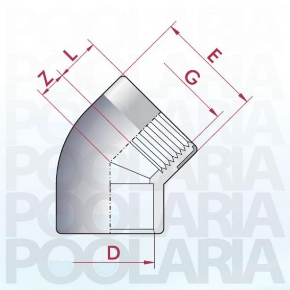 Codo mixto reforzado 45º PVC encolar y roscar