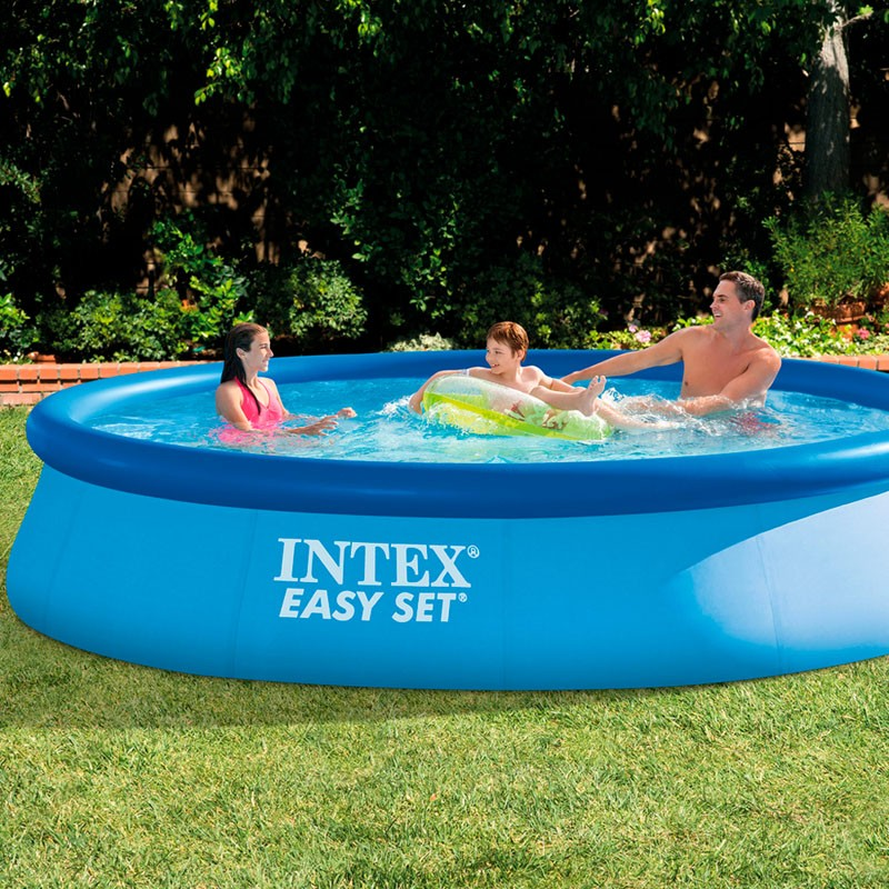 Piscina intex easy set 396x84 con depuradora 28142np for Piscinas rectangulares desmontables con depuradora