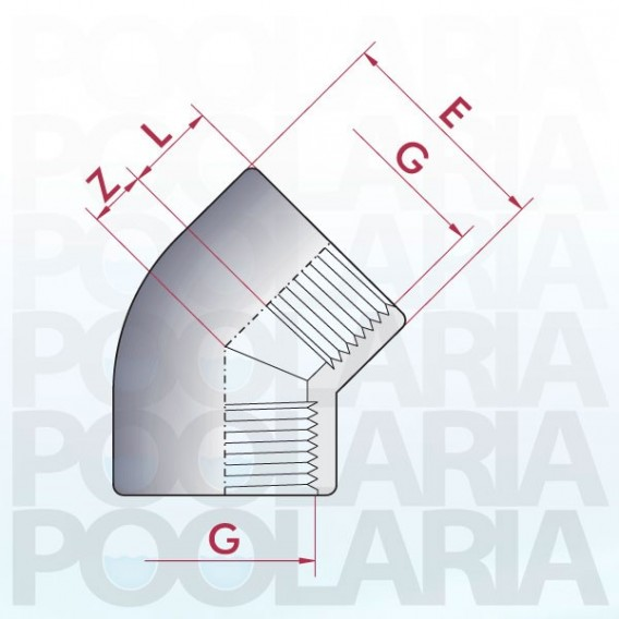 Codo 45º PVC roscar