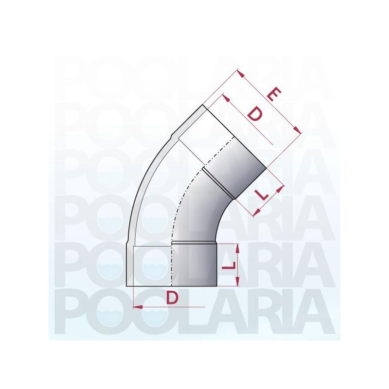 Curva 45 pvc encolar poolaria - Medidas de tubos de pvc ...