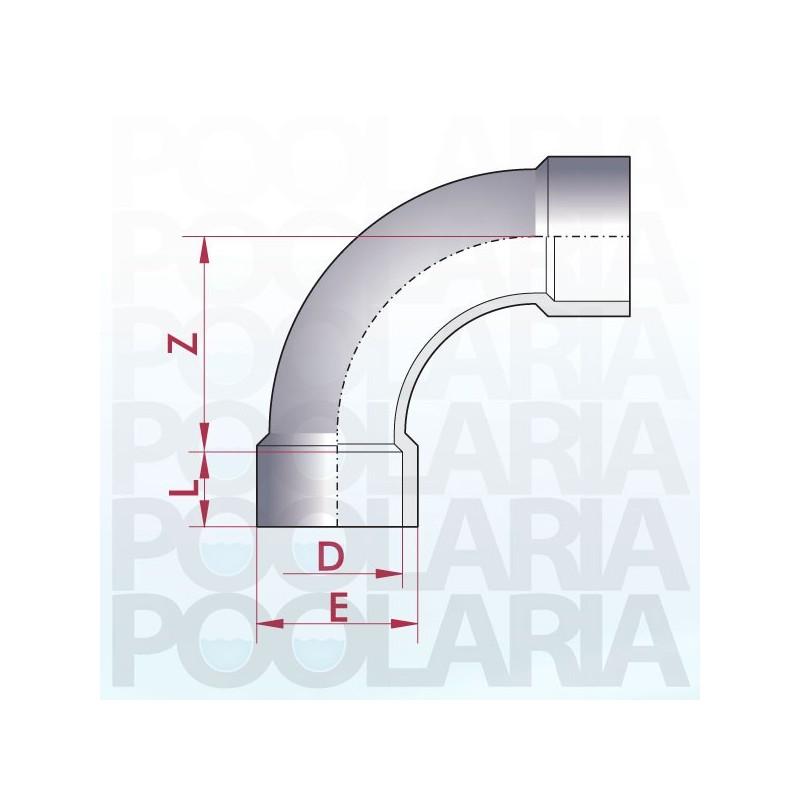 Curva 90 pvc encolar poolaria for Curva vertical exterior 90