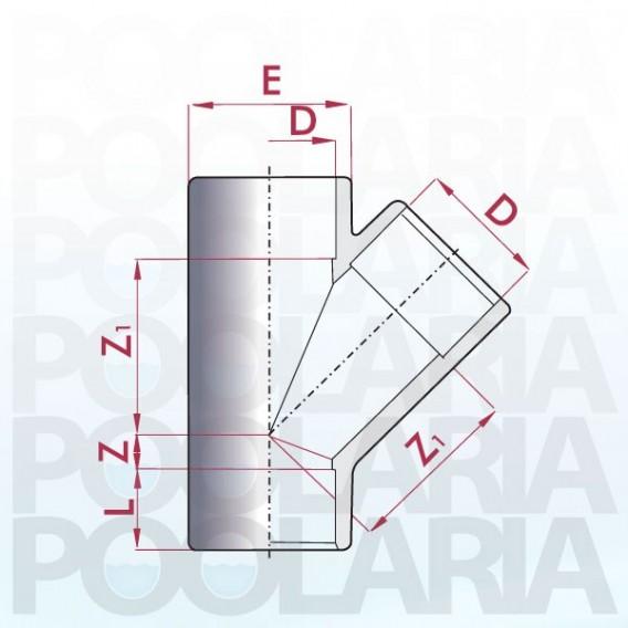 Te 45º PVC encolar