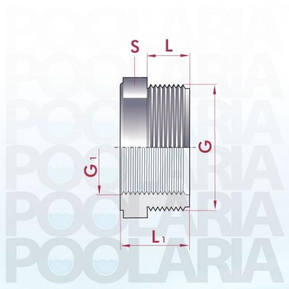 Reducción roscada corta PVC macho x hembra