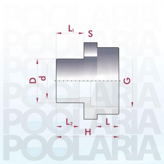 Adaptador mixto PVC encolar y roscar hembra