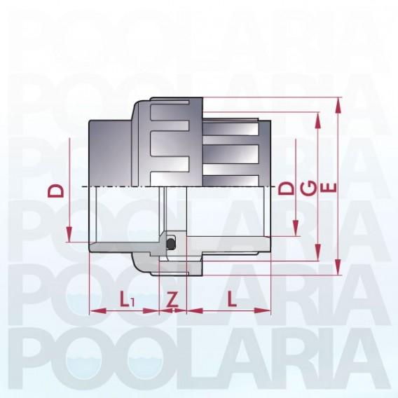 Enlace 3 piezas PVC encolar