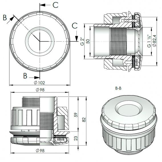 Dimensiones nicho boquilla LumiPlus Mini Rapid piscina liner