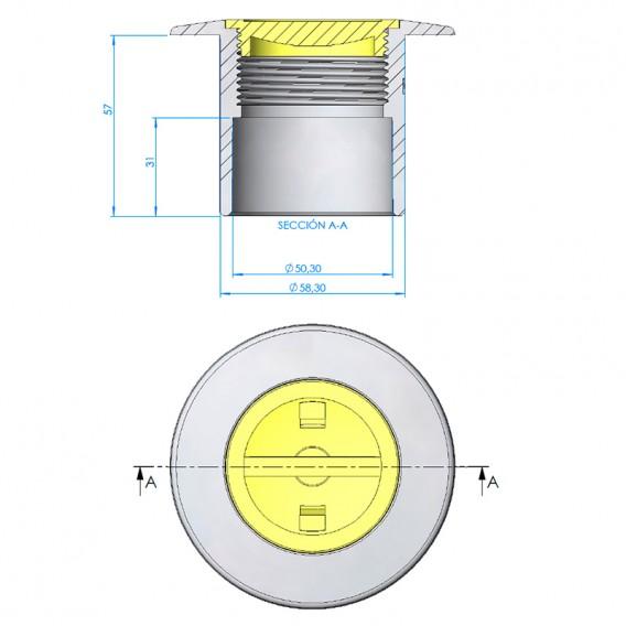 Nicho boquilla tubo Ø63 PN-6 LumiPlus Mini Rapid hormigón