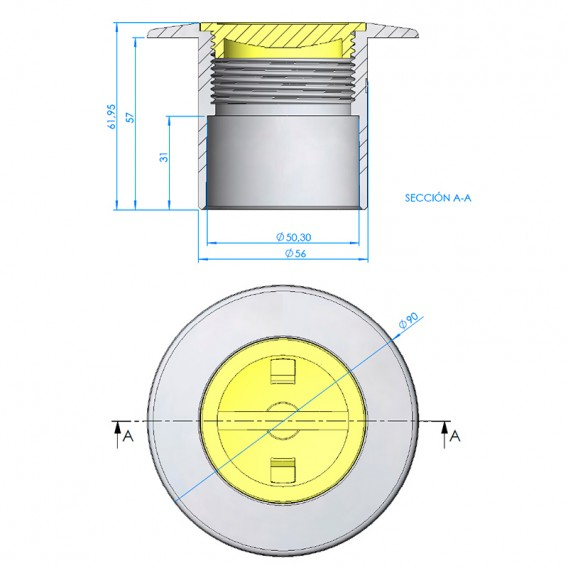 Nicho boquilla tubo Ø63 PN-10 LumiPlus Mini Rapid hormigón