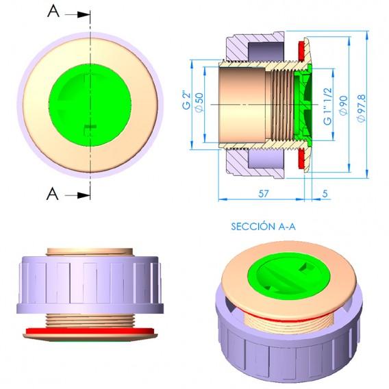 Dimensiones nicho boquilla LumiPlus Mini Rapid piscina poliéster