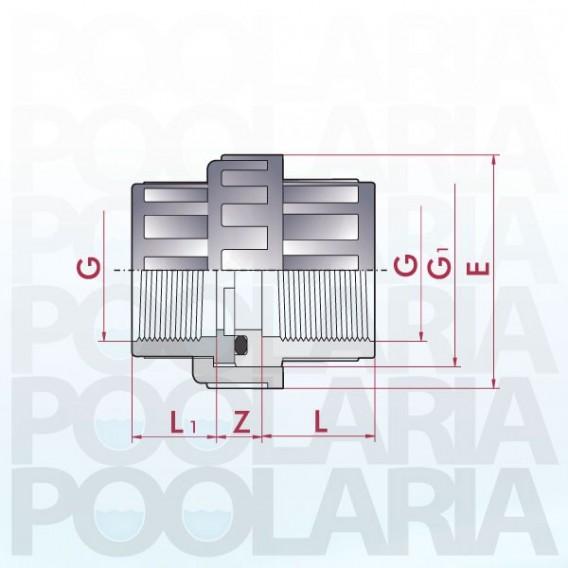 Enlace 3 piezas PVC roscar hembra