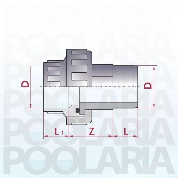 Enlace m/h 3 piezas PVC encolar