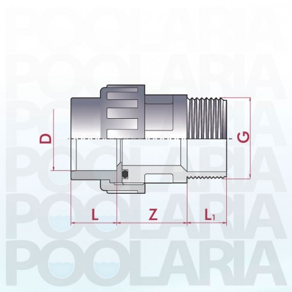 Enlace mixto m/h 3 piezas PVC encolar y roscar