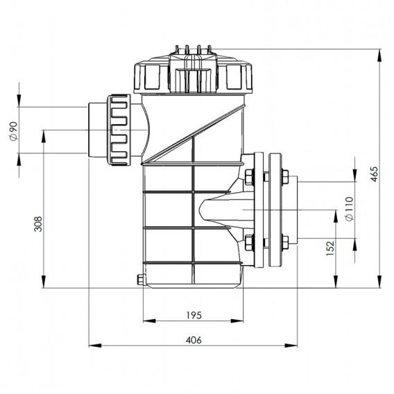 Dimensiones prefiltro en polipropileno + FV 8 litros