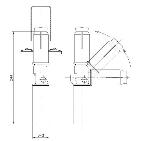 Dimensiones anclaje articulado escalera piscina sin pletina 00043