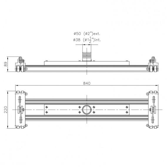 Dimensiones limpiafondos de aluminio Doble arrastre con cable