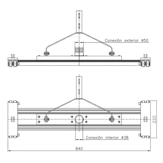 Dimensiones limpiafondos de aluminio Doble con horquilla