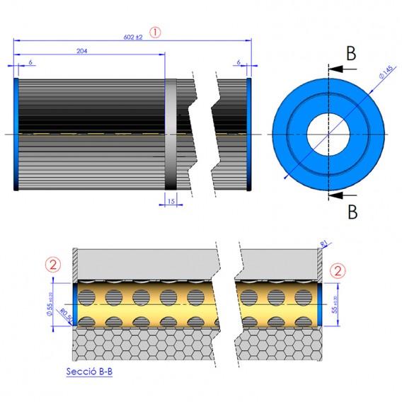 Dimensiones cartucho de recambio para filtro cilíndrico doble AstralPool