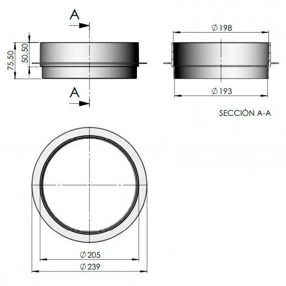 Dimensiones distanciador tapa skimmer 15 l AstralPool