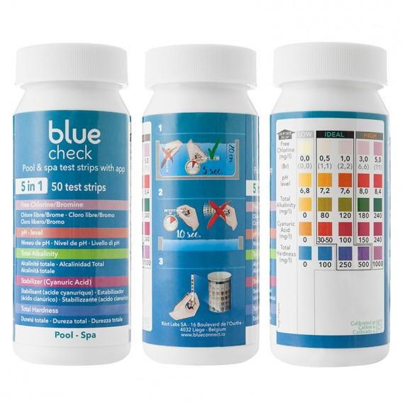 Blue Check tiras analíticas 5-en-1 con receta vía App