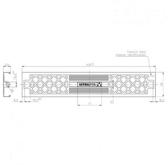 Dimensiones peldaño Standard 304 AstralPool 4401010105