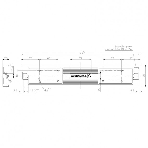 Dimensiones peldaño Luxe 316 AstralPool 4401010104