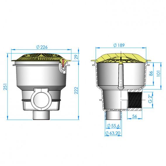 Dimensiones sumidero Norm rejilla antivortex piscina hormigón AstralPool