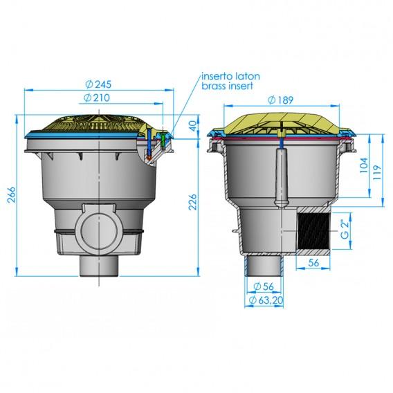 Dimensiones sumidero Norm rejilla antivortex piscina liner y prefabricada AstralPool