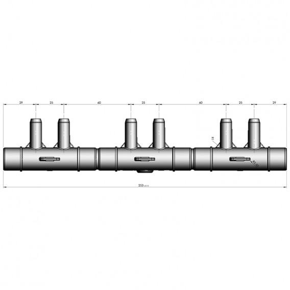 Dimensiones distribuidor de aire spa 6 salidas