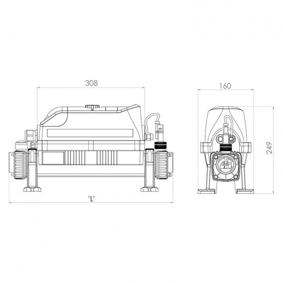 Dimensiones calentador eléctrico Elecro Evolution 2