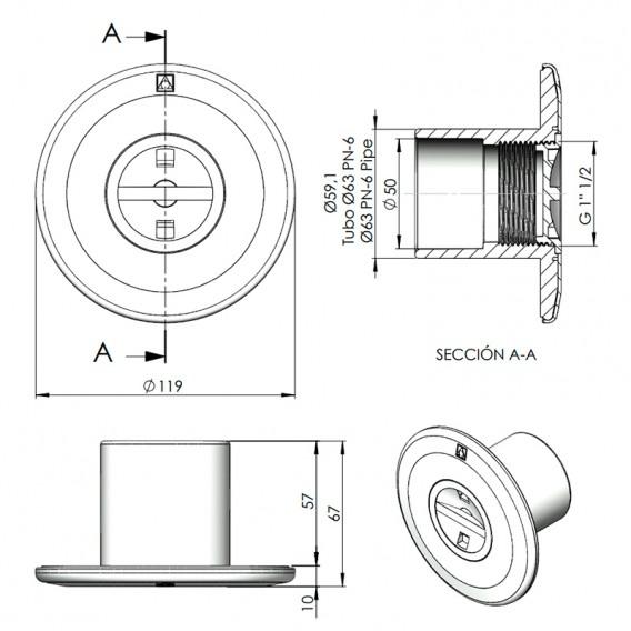 Dimensiones boquilla de aspiración AstralPool 00300