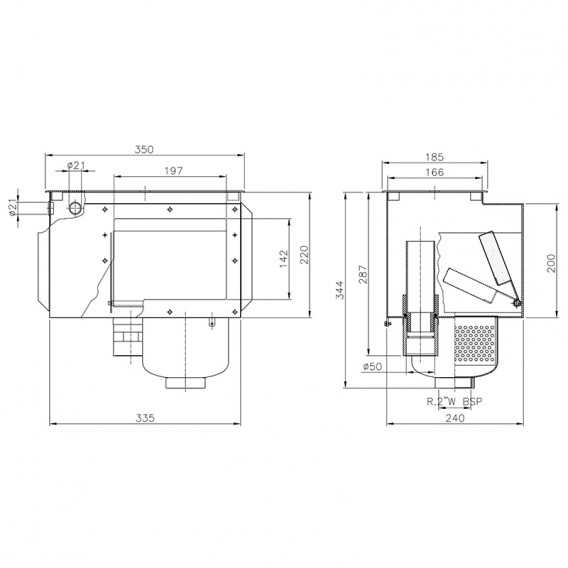Dimensiones skimmer Inox A-100 AstralPool 00254