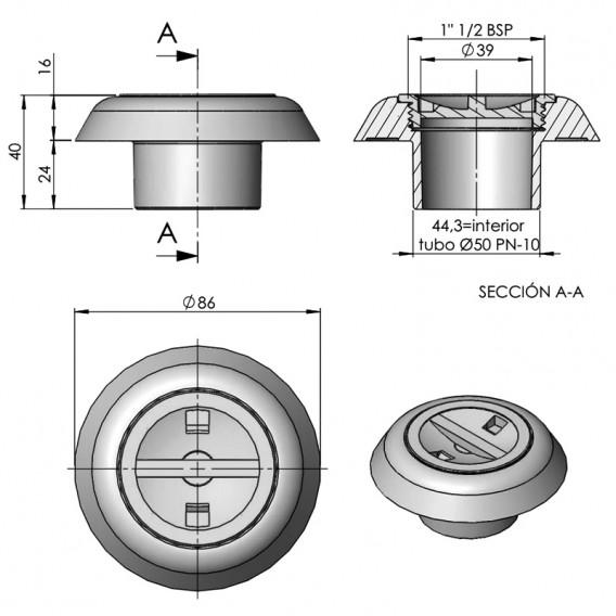 Dimensiones boquilla aspiración AstralPool 24415