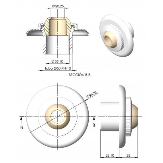 Dimensiones boquilla impulsión AstralPool 33501