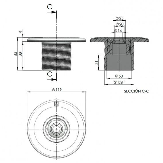 Dimensiones boquilla impulsión AstralPool 00295