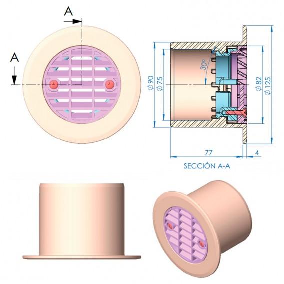 Dimensiones boquilla impulsión gran caudal AstralPool 41520