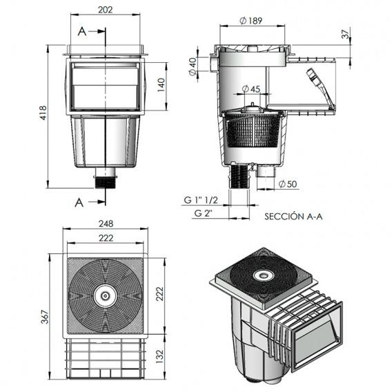 Dimensiones skimmer AstralPool 00250