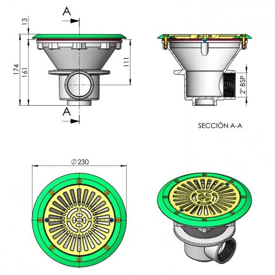 Dimensiones sumidero AstralPool 00271