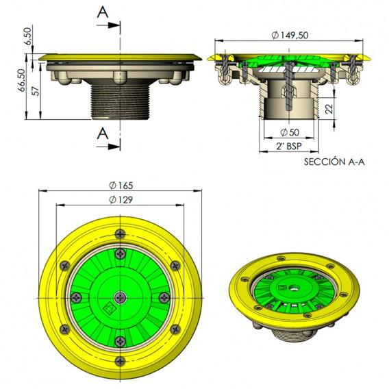 Dimensiones boquilla fondo AstralPool 00340