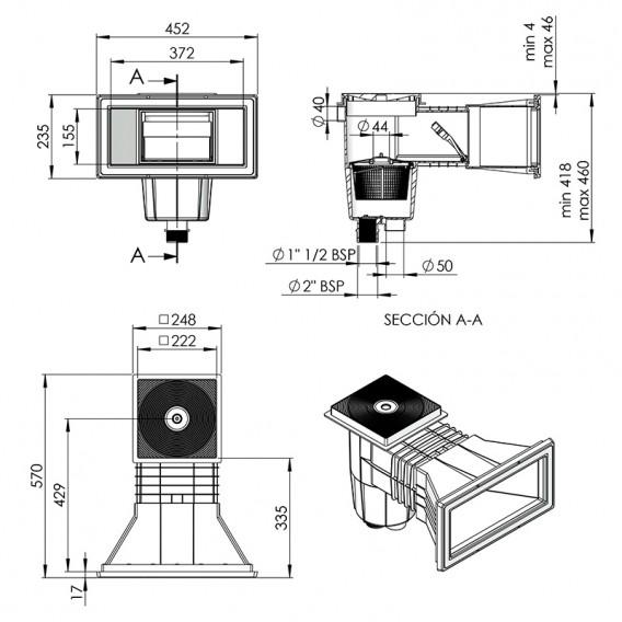 Dimensiones skimmer AstralPool 00252