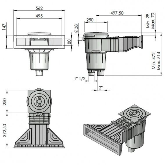 Dimensiones skimmer Norm piscina hormigón AstralPool