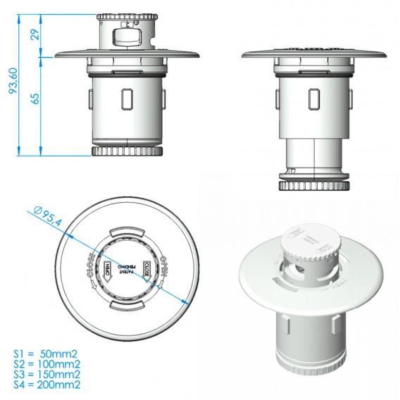 Dimensiones kit conjunto interior boquilla Net'N'Clean AstralPool