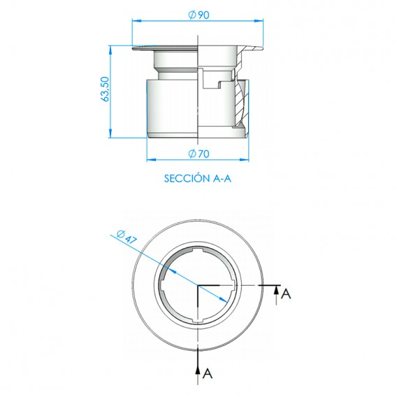 Dimensiones cuerpo boquilla Net'N'Clean 65230