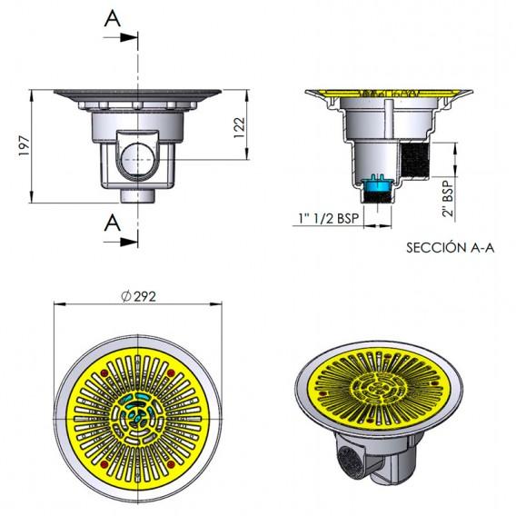 Dimensiones sumidero circular AstralPool 01466