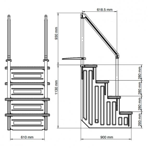 Dimensiones escalera interior Gre EPE30