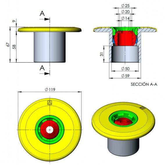 Dimensiones boquilla impulsión AstralPool 00298