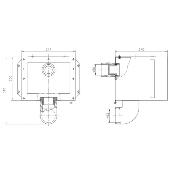 Dimensiones cuerpo skimmer A-202 AstralPool