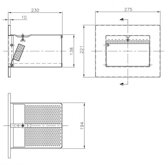 Dimensiones cesto para skimmers A-201 y A-202 AstralPool