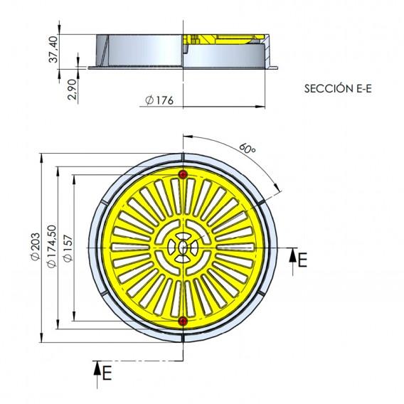 Dimensiones reja drenaje Ø 200 mm en ABS AstralPool